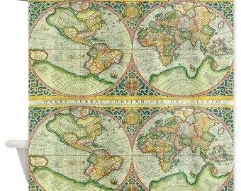 World Map Shower Curtain - Antique map historical classic Decor - Home Decor - Bathroom - maps - chic  jewel tones