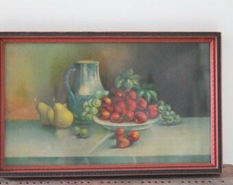 1950s Framed Fruit Print, Vintage Still Life Print with Beautiful Frame