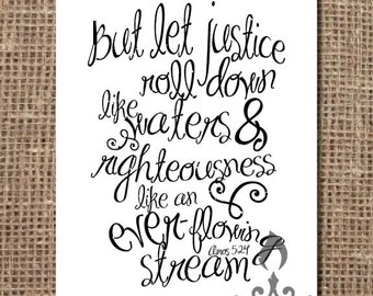 Scripture Print: Let Justice Roll Down