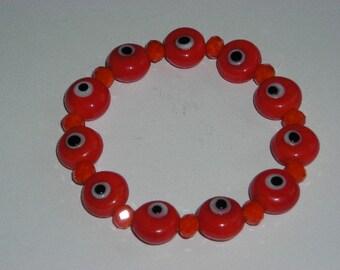 Venetian-Styled Glass Eye Beads and  Faceted Rondelle Bead Bracelet