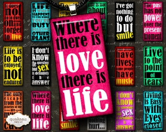 Life Quotes Dominoes - Digital Collage Sheet - Domino Images - 1x2 inch dominoes - Vintage Images - Printable Dominoes – Pendants - Quotes