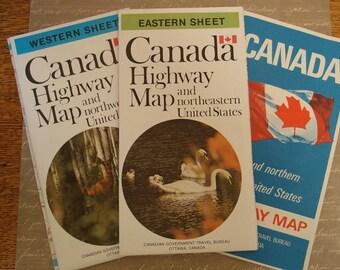 Set of  Three Vintage Canada/US Maps.