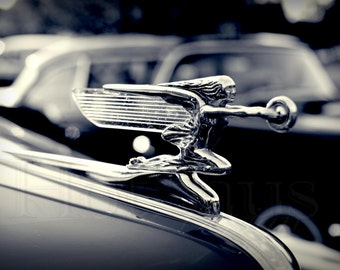 Packard Super 8 Hood Ornament - Black and White Photography - Goddess of Speed - Automotive Vintage Car Decor - Fine Art Photography