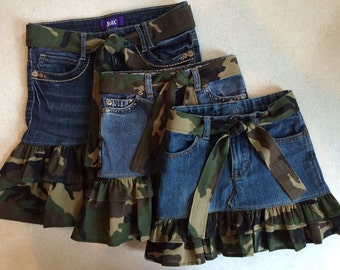 Upcycled Denim Skirt with Camouflage Ruffle