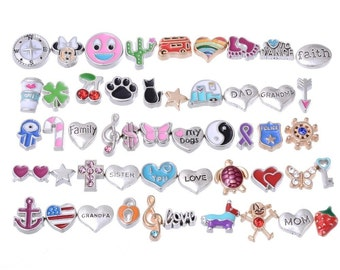 Lot Mix Floating Charms for Glass Living Memory Lockets Wholesale Gold & Silver Free Shipping #L-FLTCHR-MIX