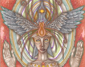 "The Tricksters: Raven & Spider, Totem Art, Art Print, Goddess Art, 11"" x14"""