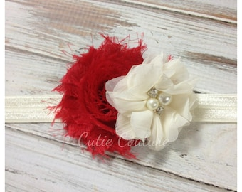 Red Headband, Ivory Headband, Red and Ivory Headband, red christmas Headband, ivory Flower Girl Headband, red and ivory flower Headband