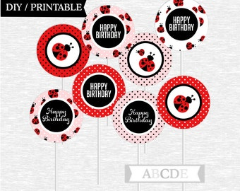 Instant Download Ladybug Birthday Party Cupcake Toppers DIY Printable ( NPDLB001 )