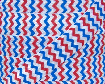 SALE!!! Red, White, and Blue 4th of July Chevron Fold Over Elastic - Elastic for Baby Headbands and Hair Ties - 5 Yards 5/8 inch Printed FOE