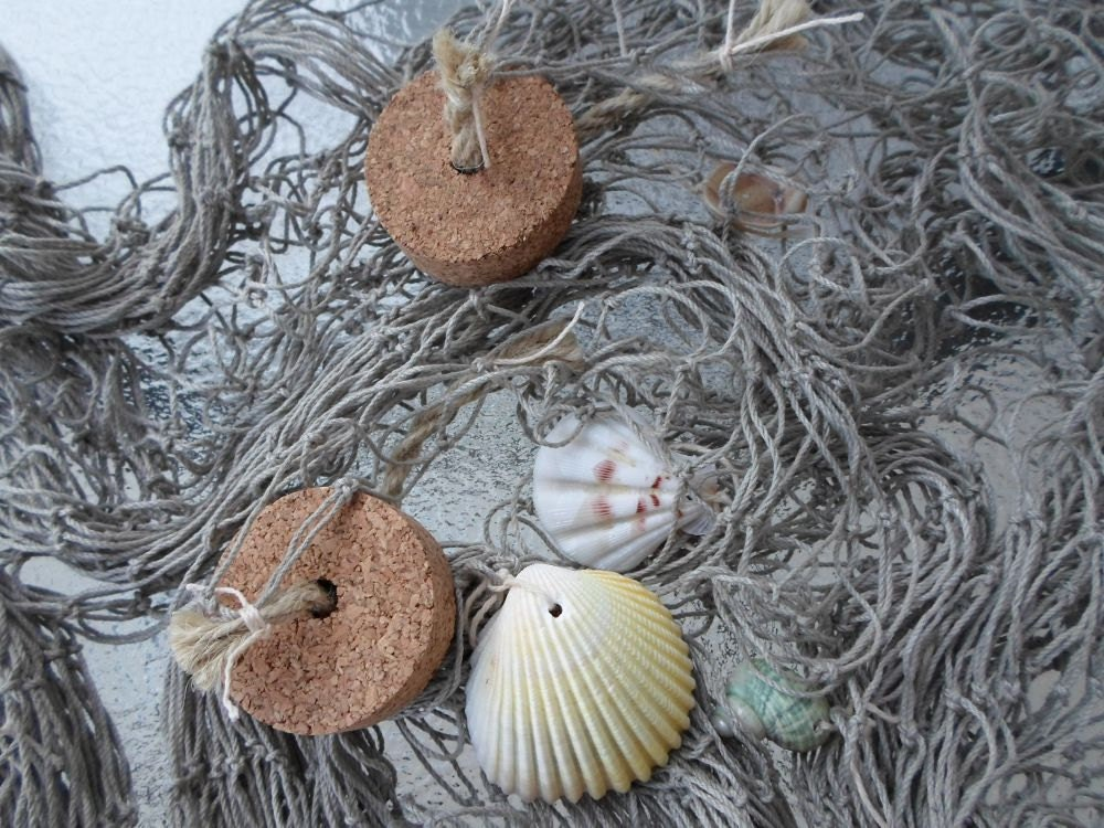 Decorative fishing net w shells cork floats 5x10 fish for Fishing net floats