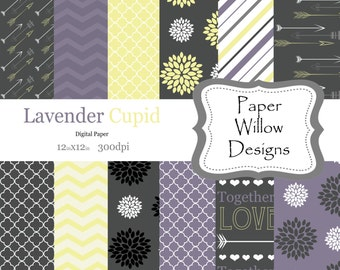 Lavender Cupid-(12)-12x12 Digital Papers-300dpi-Instant Download-Arrows-Dahlia-Floral-Chevron-Grey-Yellow-Purple-White