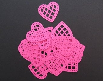 25 Bright Pink Cardstock Scalloped Lace Heart Martha Stewart Punches