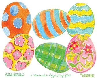 Watercolor Easter Clip Art - Watercolor clip art Illustration - Watercolor Easter Eggs  - INSTANT DOWNLOAD