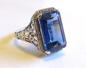 Vintage Ceylon Sapphire Sterling Silver Filigree Statement Ring Size 6/ Antique Art Deco Floral