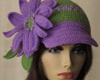 Purple and Green Stripe Crochet Skullcap Hat with Cap
