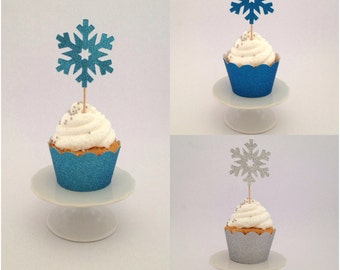 FROZEN Glitter Snowflake Cupcake Toppers 5.5cm Snowflakes for Frozen Party x 12
