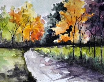 ORIGINAL Watercolor Painting, Autumn Landscape Painting, Abstract Landscape, Watercolor Trees 6x8 Inch