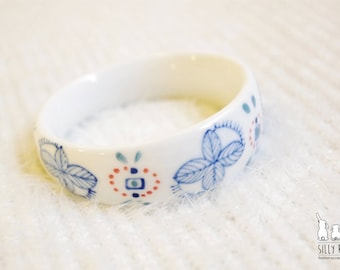 Ceramic porcelain jewellery-Handdrawn blue & red pattern porcelain chunky bangle,unique unusual birthday gift,graduation gift,Christmas gift