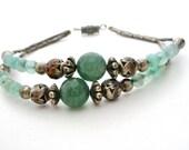 "Green Aventurine Bracelet Silver Plated Rose Beads 7 1/2"" Vintage"