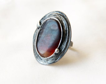 Agate ring,solid piece Agate brown orange stone ring, statement ring, Engagement ring, coctail ring, adjustable ring