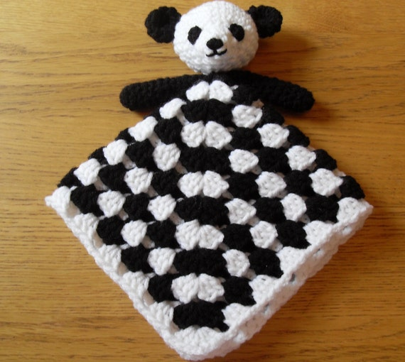 Free Crochet Panda Afghan Patterns : Panda Bear Blankie Baby Lovey Comforter by PeachUnicornCrochet