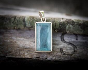 Blue Aquamarine Pendant - Aquamarine pendant ~ Aquamarine March birthstone - Aquamarine Pendant - Aquamarine Necklace - Large