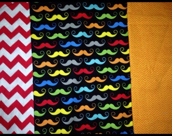 Mustachio Back in Black- Mustache/Chevron/chevron- set of 3