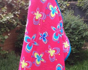 Girls hooded butterfly bath, beach towel