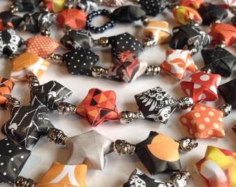 Happy Halloween Origami Star Garland with Skull Beads