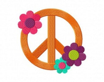 Flower Peace Machine Embroidery Design