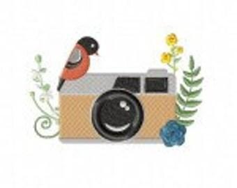 Bird on Camera Machine Embroidery Design
