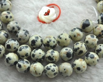 Dalmatian obsidian smooth round beads 6mm,62 pcs