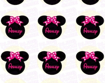 Disney Minnie Mouse Silhouette Pink Polka Dot Bow Inspired Edible Icing Cupcake Decor Toppers