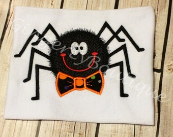 Spider with Bow Tie Halloween Shirt or Bodysuit, Halloween Shirt, Boy Halloween, Spider Shirt, Trick or Treat, Halloween