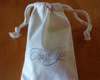 5 Thank You Muslin Bags,Thank You Gift Bags,Shower Drawstring Bags