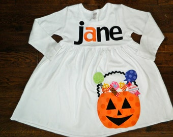 Halloween Dress- Trick or Treat Bucket Dress- Personalized Dress-You choose color