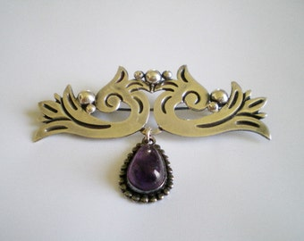 Vintage Taxco brooch pin sterling silver brooch pin with large Amethyst
