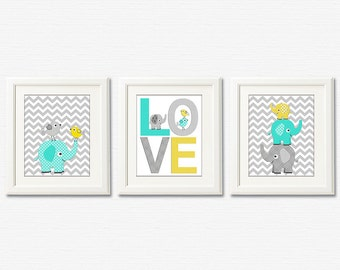 Aqua yellow and grey  elephant Nursery Art Print Set - turquoise, elephant, love, bird, stacked elephants, chevron  - UNFRAMED