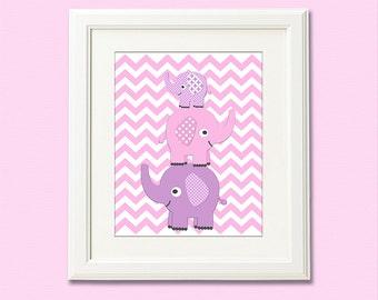 pink and purple stacked elephants print, nursery Art Print - 8x10 - Chevron, Children art, baby girl wall decor, lilac, elephant - UNFRAMED