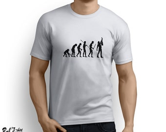 Evolution Guitar T-shirt Funny rocker rock n roll guitarist music tee