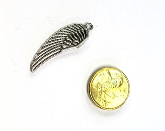 Antique Silver Angel Wing Charm