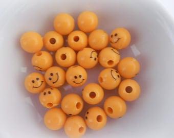 Smiley Beads, 9mm, Orange Acrylic Beads, 25 pcs, Fun Beads, Round beads, Smileyface