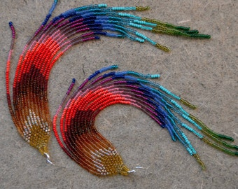 Rainbow Magic Extra Long Shoulder Duster Beaded Fringe Earrings