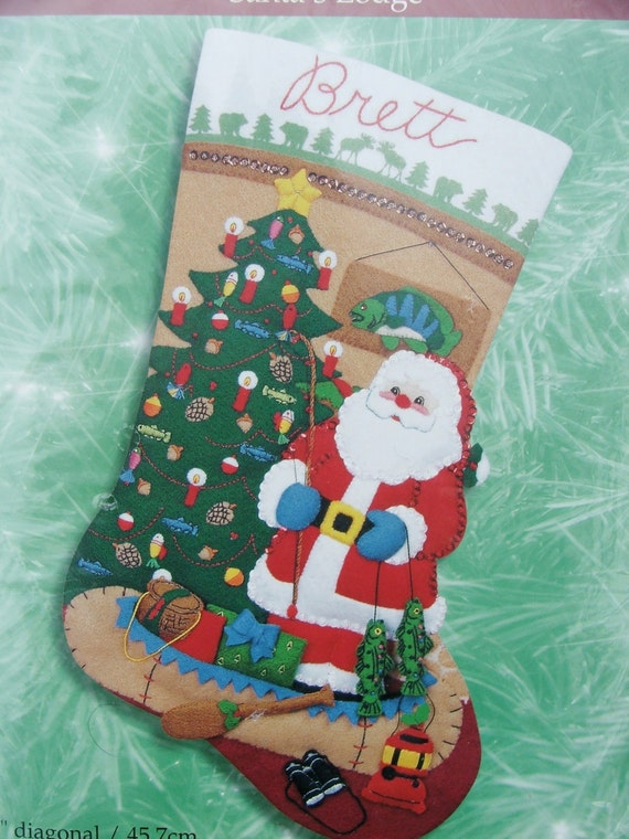 Bucilla santa 39 s lodge felt christmas stocking by for Fish christmas stocking