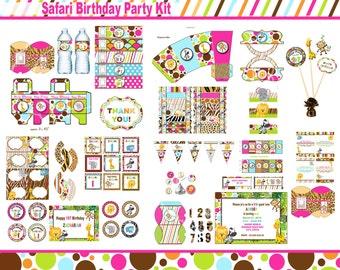 Safari birthday party,   jungle party, zoo party animal party Safari part SAFARI PINK GIRL printable