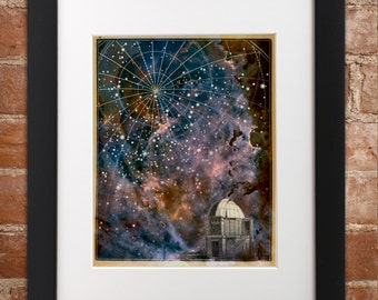 Observatory & Stars Art Print | Poster Wall Art Nebula Galaxy Telescope Astronomy Stars Constellation Star Map Chart Astronomical Space