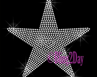 Large STAR - Iron on Rhinestone Transfer Bling Hot Fix Motif Applique - DIY