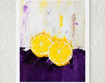Lemon Print, Citrus Fruit Print, Small Art Print, Contemporary Print, Kitchen Art Decor, Purple and Yellow, Food Wall Art, Fine Art Print