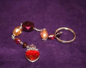 Jeweled Heart Key Chain, 10 inches