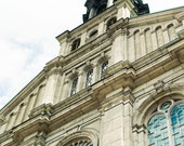 Quebec City Cathedral Photography, Travel Photo Print, Large Wall Art, Church Photography, Travel Photography, Neutral Brown Tan Blue